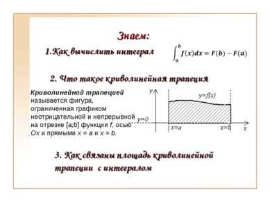 Знаем: 1.Как вычислить интеграл 2. Что такое криволинейная трапеция 3. Как св...
