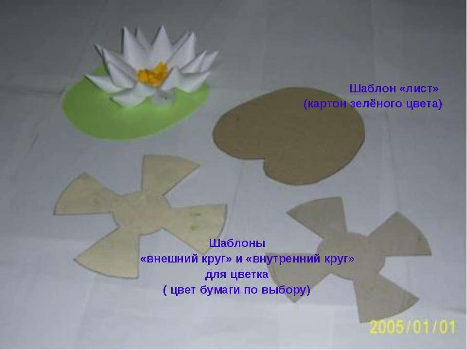 Шаблон «лист» (картон зелёного цвета) Шаблоны «внешний круг» и «внутренний кр...