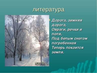 литература Дорога, зимняя дорога, Овраги, речки и поля, Под белым снегом погр...