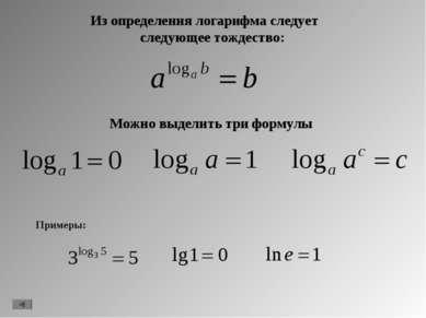 Можно выделить три формулы Из определения логарифма следует следующее тождест...