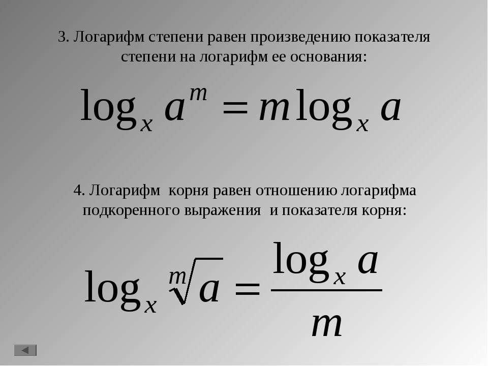 3. Логарифм степени равен произведению показателя степени на логарифм ее осно...