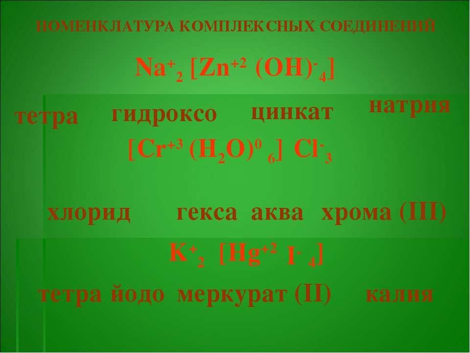 тетра гидроксо цинкат НОМЕНКЛАТУРА КОМПЛЕКСНЫХ СОЕДИНЕНИЙ Na+2 4] (OH)- [Zn+2...