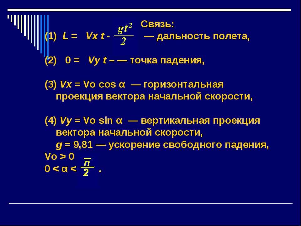 Связь: (1) L = Vx t - — дальность полета, (2) 0 = Vy t – — точка падения, (3)...