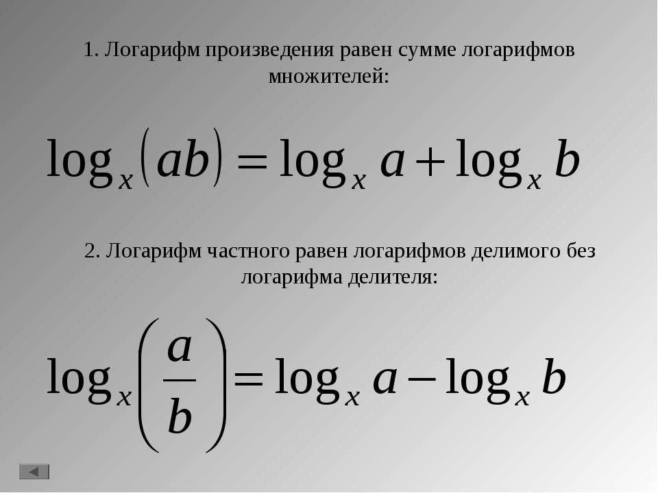 1. Логарифм произведения равен сумме логарифмов множителей: 2. Логарифм частн...