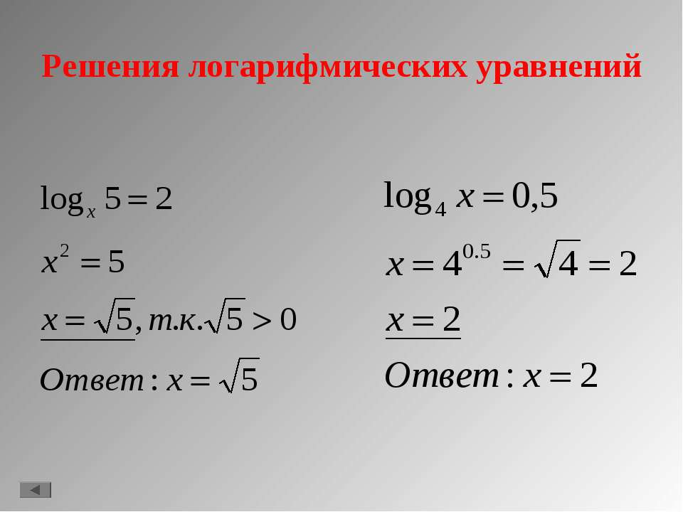 Решения логарифмических уравнений