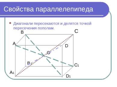 Свойства параллелепипеда Диагонали пересекаются и делятся точкой пересечения ...