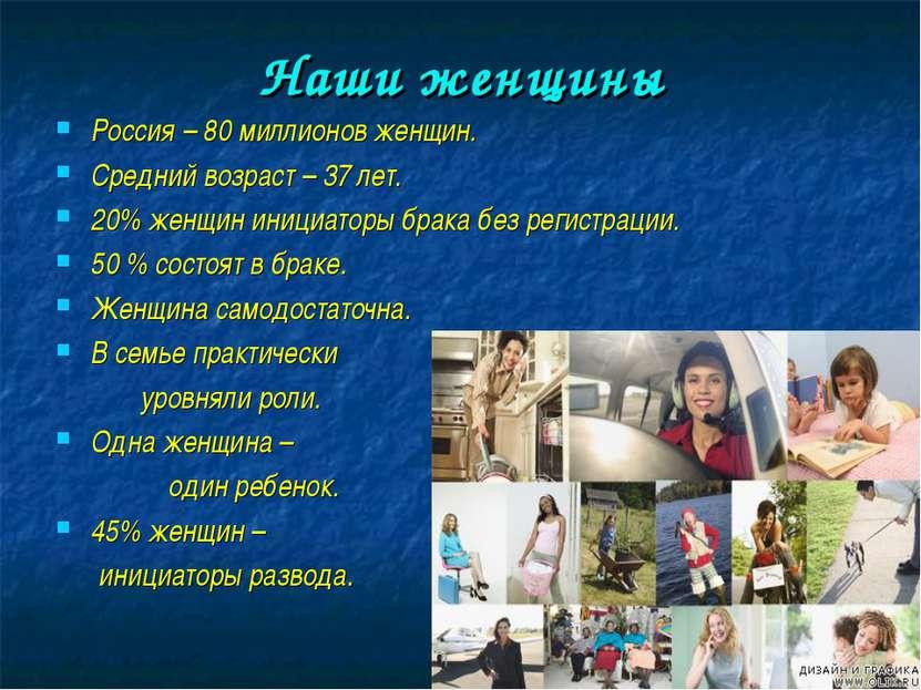Наши женщины Россия – 80 миллионов женщин. Средний возраст – 37 лет. 20% женщ...
