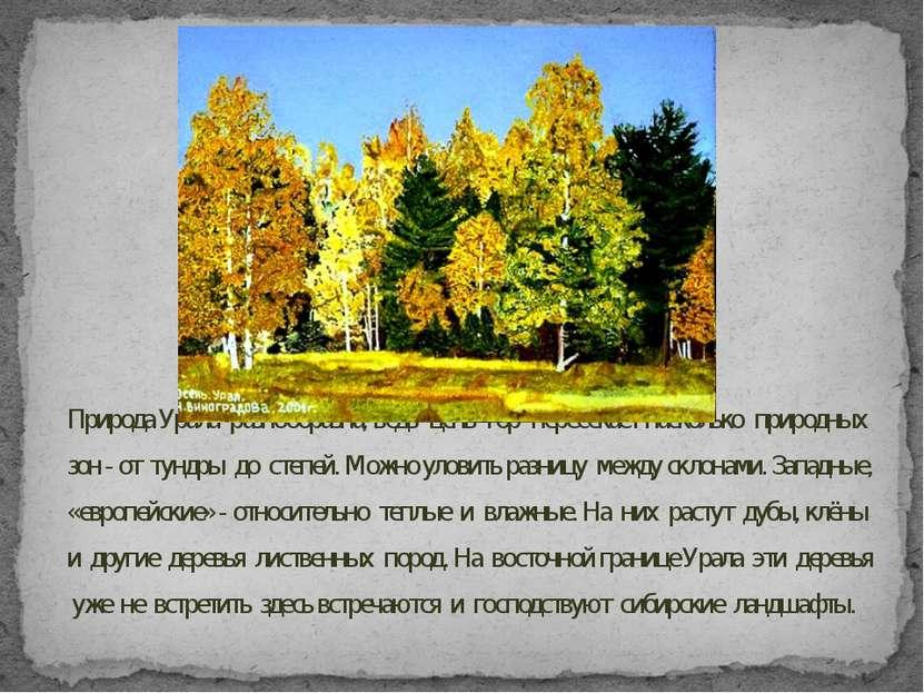 Природа Урала разнообразна, ведь цепь гор пересекает насколько природных зон ...