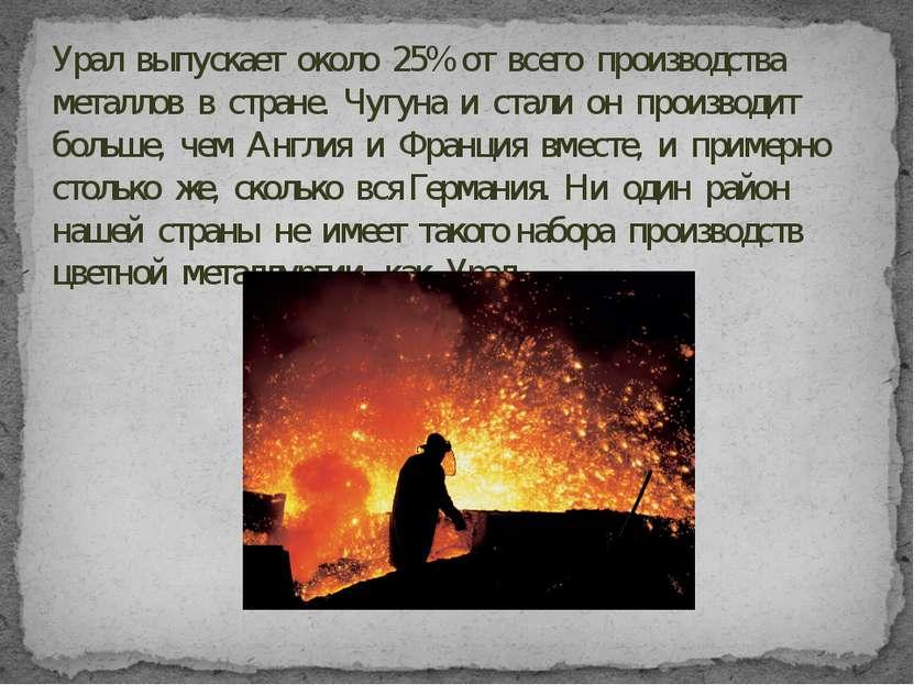 Урал выпускает около 25% от всего производства металлов в стране. Чугуна и ст...
