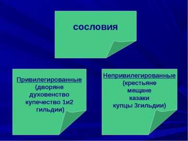 сословия Непривилегированные (крестьяне мещане казаки купцы 3гильдии) Привиле...
