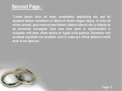 "Second Page : ""Lorem ipsum dolor sit amet, consectetur adipisicing elit, sed ..."