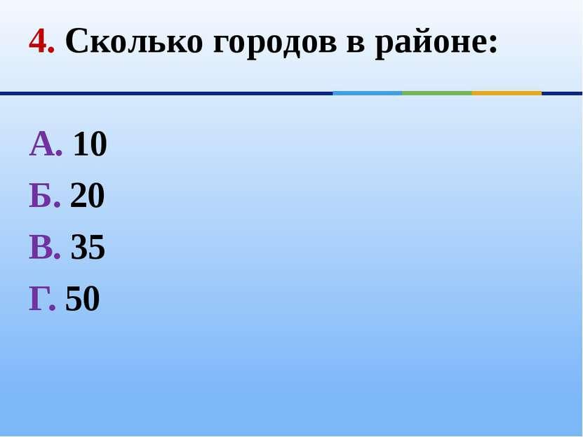 4. Сколько городов в районе: А. 10 Б. 20 В. 35 Г. 50