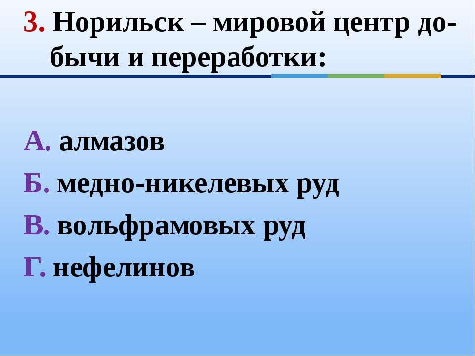 3. Норильск – мировой центр до-бычи и переработки: А. алмазов Б. медно-никеле...