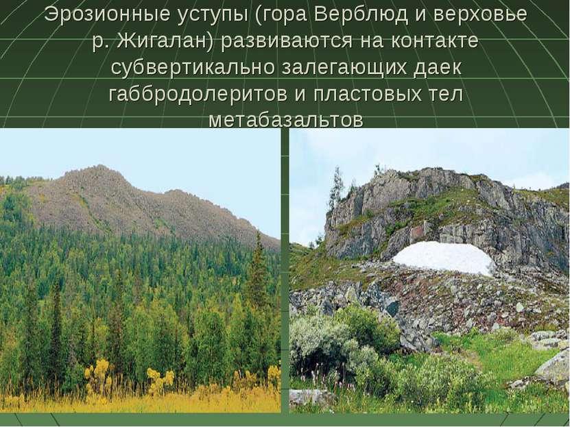 Эрозионные уступы (гора Верблюд и верховье р. Жигалан) развиваются на контакт...