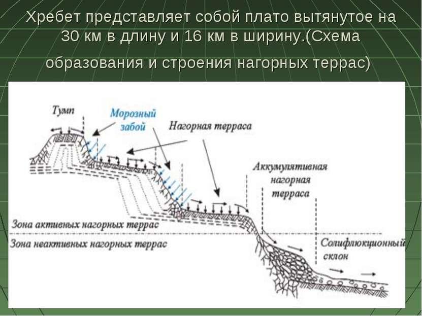 Хребет представляет собой плато вытянутое на 30 км в длину и 16 км в ширину.(...