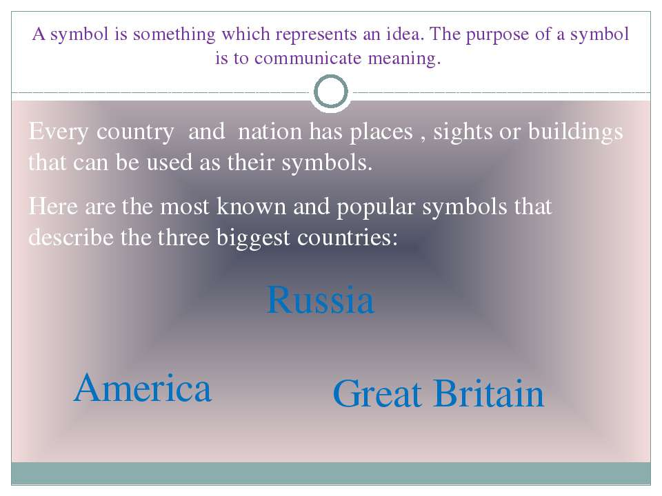 A symbol is something which represents an idea. The purpose of a symbol is to...