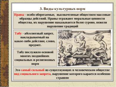 3. Виды культурных норм Нравы - особо оберегаемые, высокочтимые обществом мас...