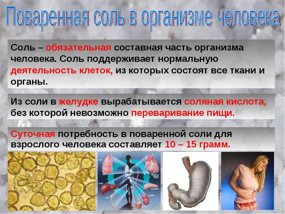 Соль – обязательная составная часть организма человека. Соль поддерживает нор...