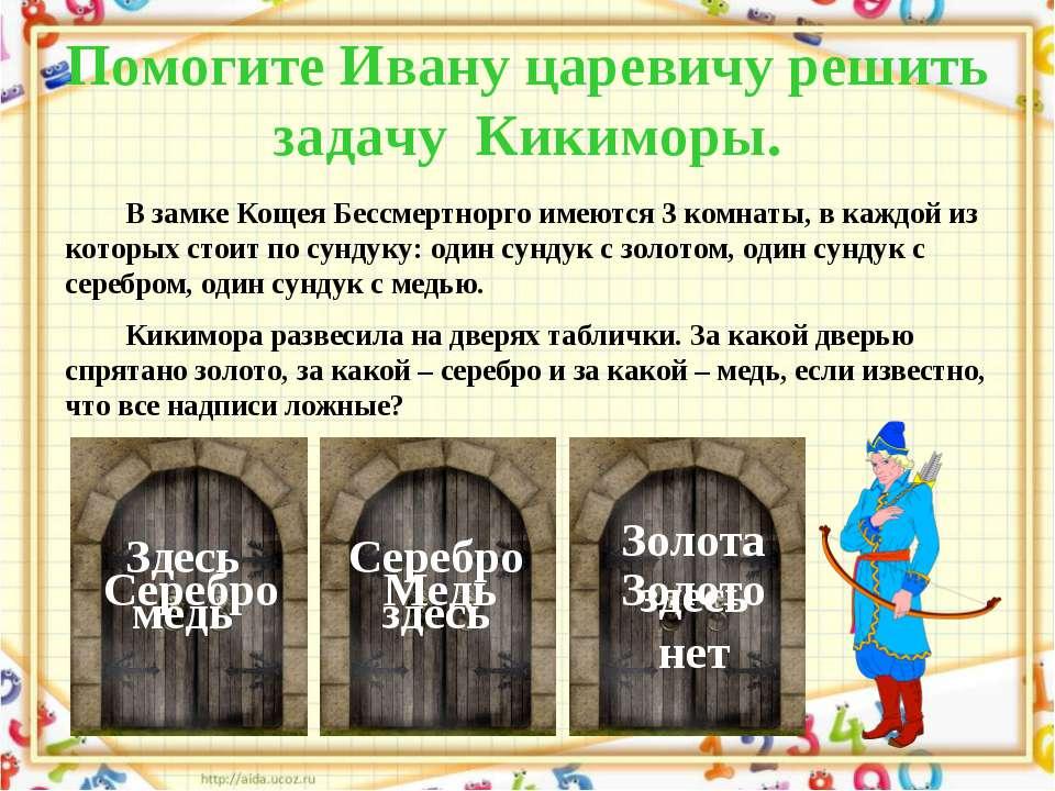 Помогите Ивану царевичу решить задачу Кикиморы. В замке Кощея Бессмертнорго и...