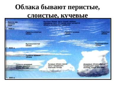 Облака бывают перистые, слоистые, кучевые