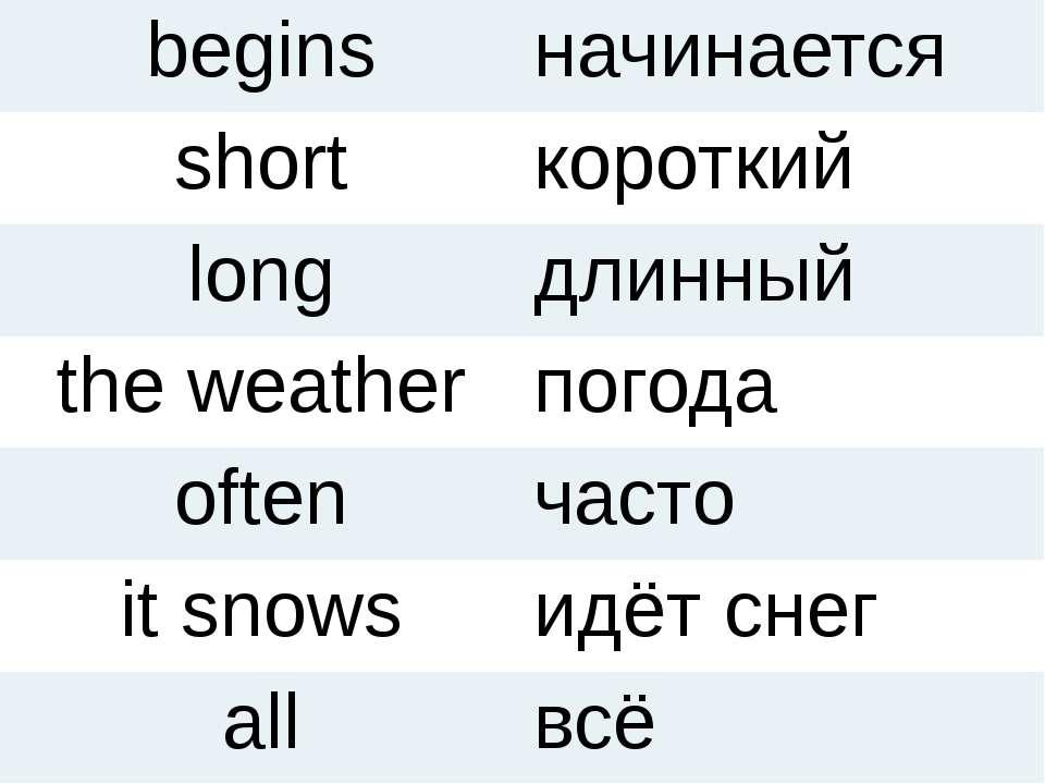 begins начинается short короткий long длинный the weather погода often часто ...
