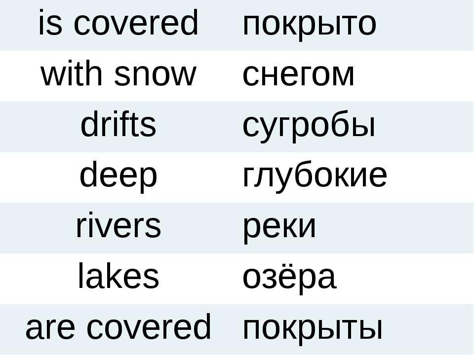 is covered покрыто with snow снегом drifts сугробы deep глубокие rivers реки ...