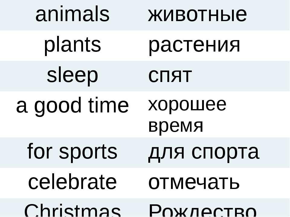 animals животные plants растения sleep спят a good time хорошее время for spo...