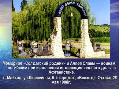 Мемориал «Солдатский родник» и Аллея Славы — воинам, погибшим при исполнении ...