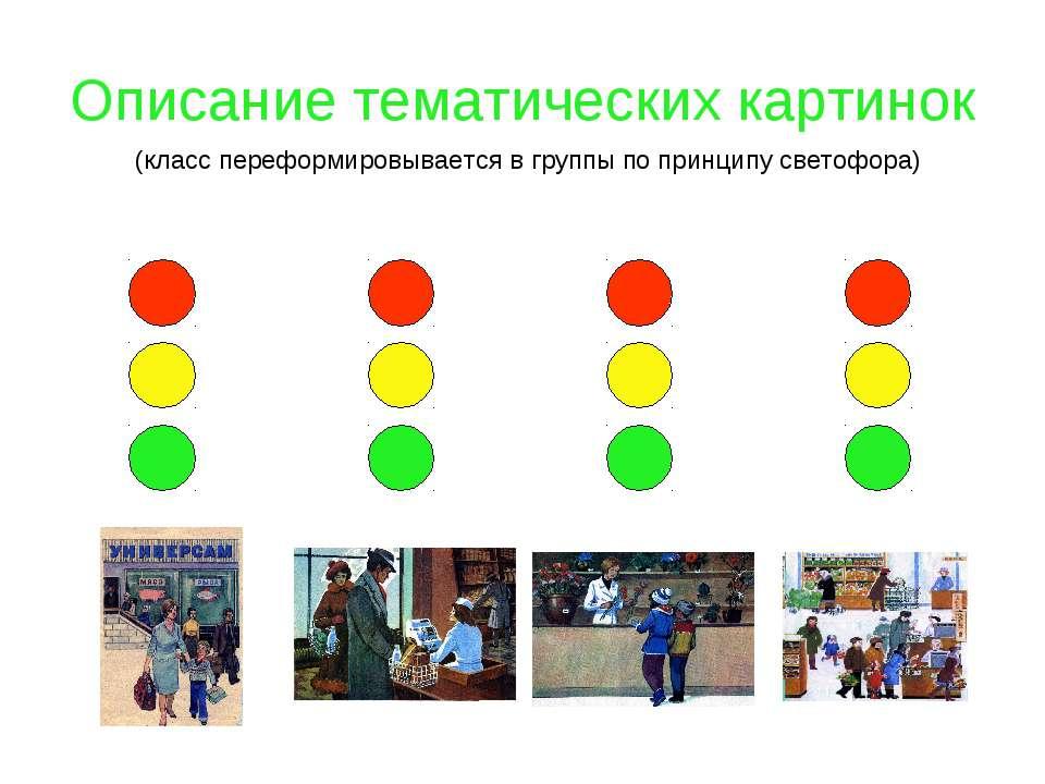 Описание тематических картинок (класс переформировывается в группы по принцип...