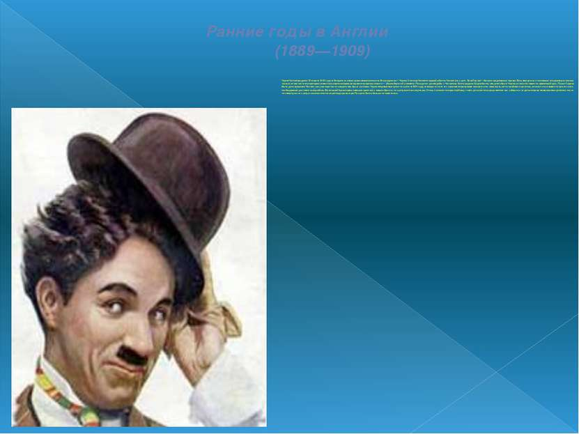 Ранние годы в Англии (1889—1909) Чарли Чаплин родился16 апреля1889 годавЛ...