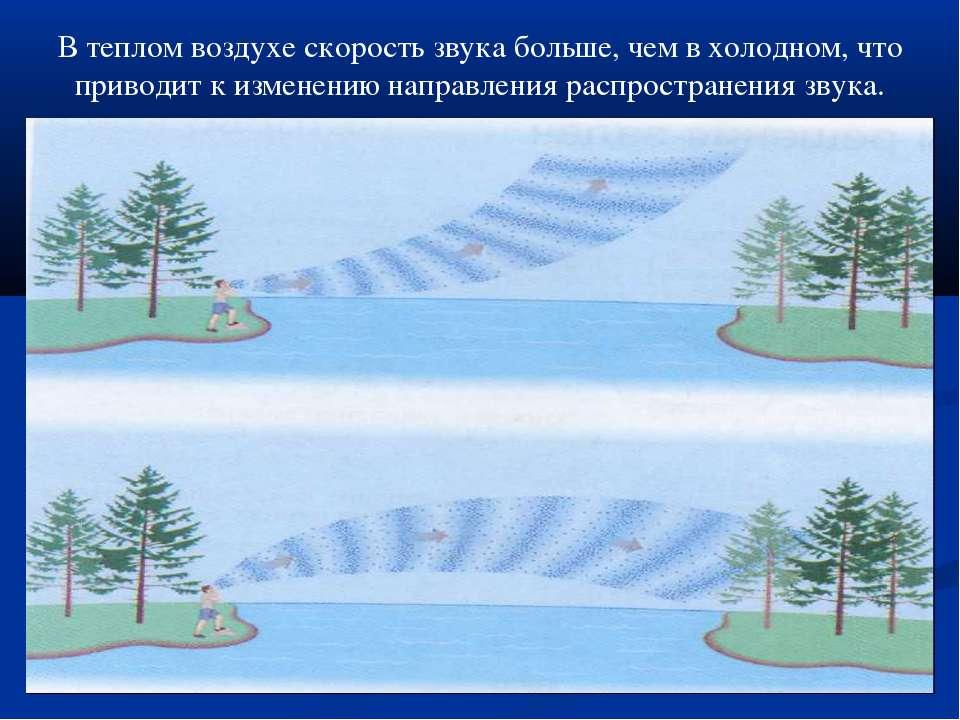 В теплом воздухе скорость звука больше, чем в холодном, что приводит к измене...