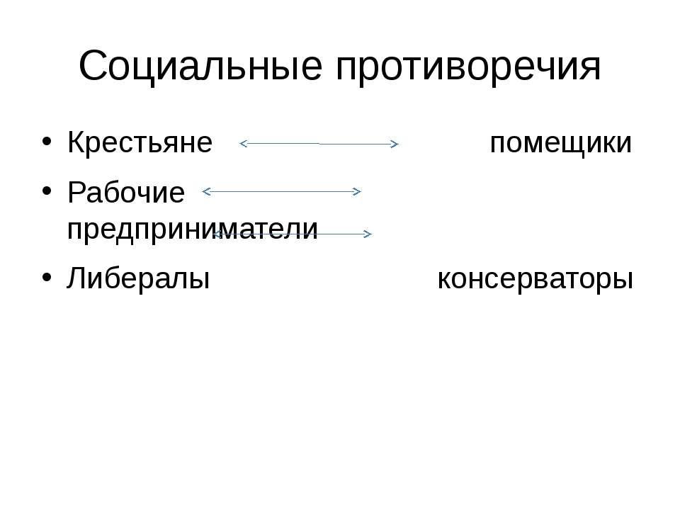 Социальные противоречия Крестьяне помещики Рабочие предприниматели Либералы к...