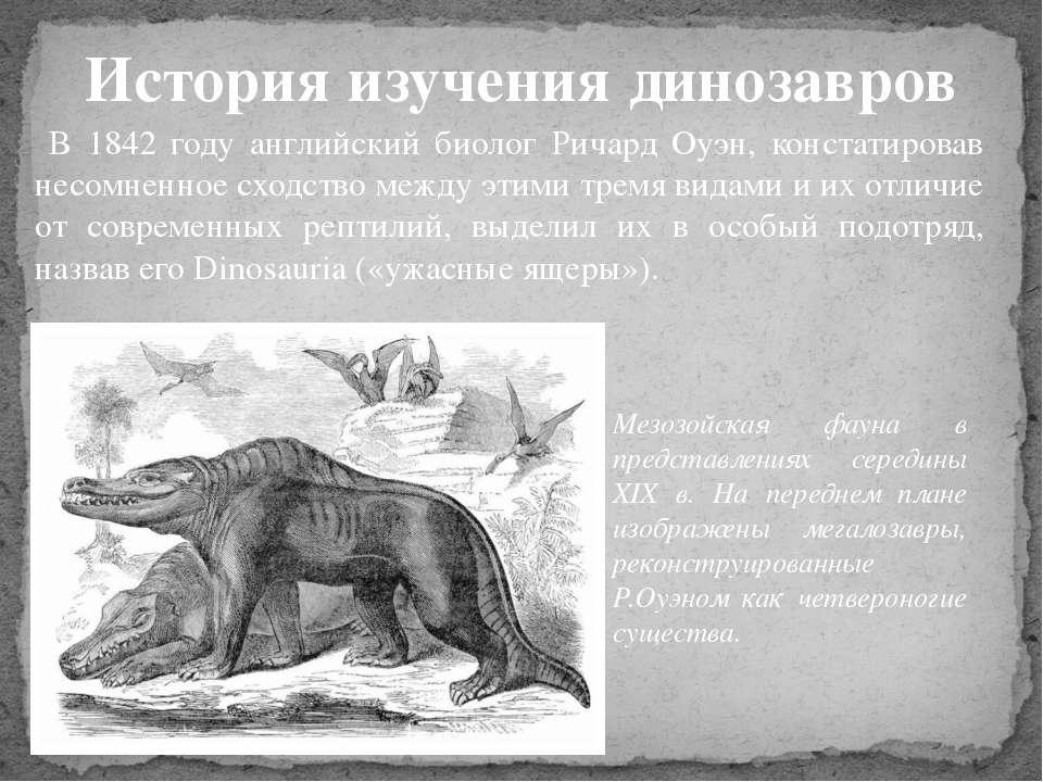 В 1842 году английский биолог Ричард Оуэн, констатировав несомненное сходство...