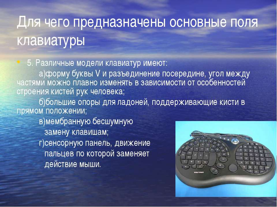 Для чего предназначены основные поля клавиатуры 5. Различные модели клавиатур...