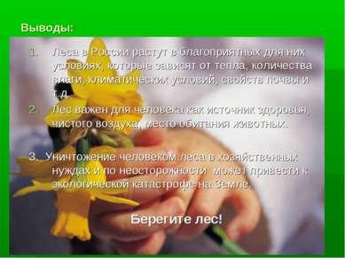 Выводы: Леса в России растут в благоприятных для них условиях, которые завися...