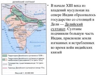 В начале XIII века из владений мусульман на севере Индии образовалось государ...
