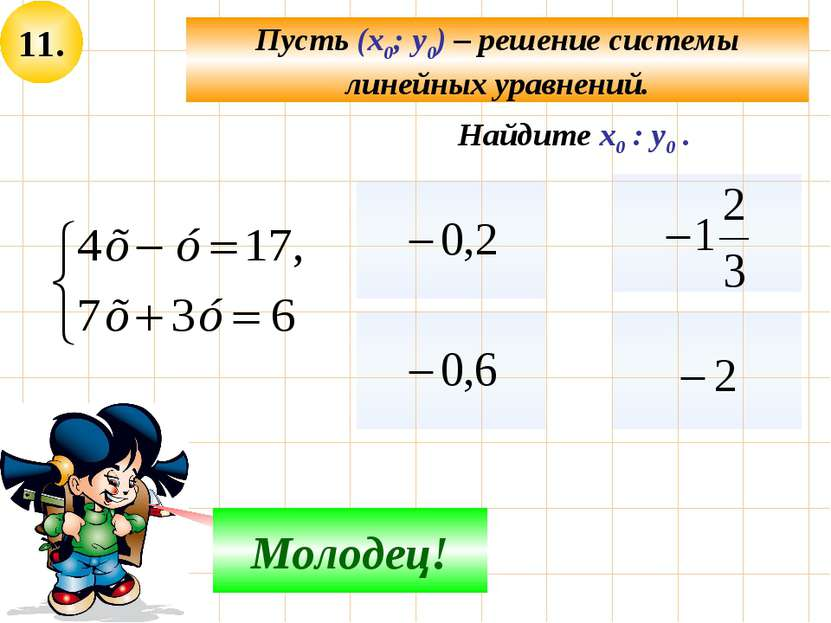 11. Пусть (х0; у0) – решение системы линейных уравнений. Не верно! Молодец! Н...