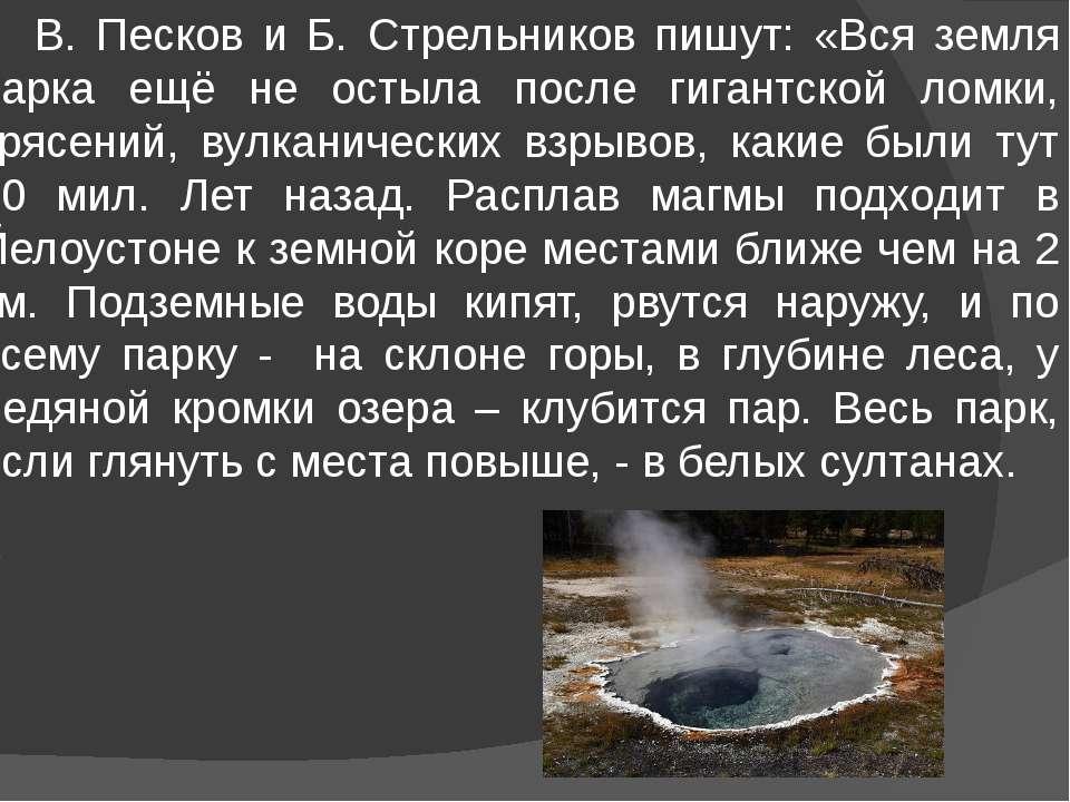 В. Песков и Б. Стрельников пишут: «Вся земля парка ещё не остыла после гигант...