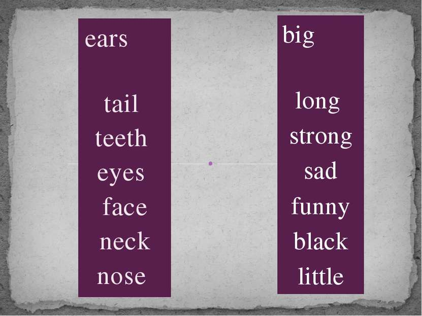 ears tail teeth eyes face neck nose big long strong sad funny black little
