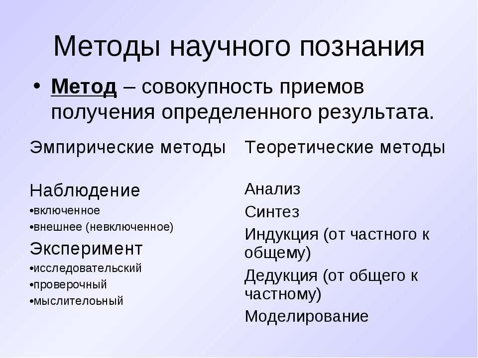 Методы научного познания Метод – совокупность приемов получения определенного...