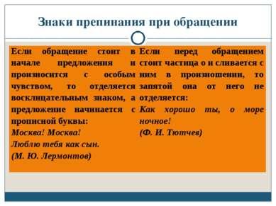 Знаки препинания при обращении Если обращение стоит в начале предложения и пр...