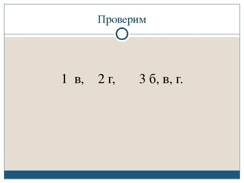 Проверим 1 в, 2 г, 3 б, в, г.
