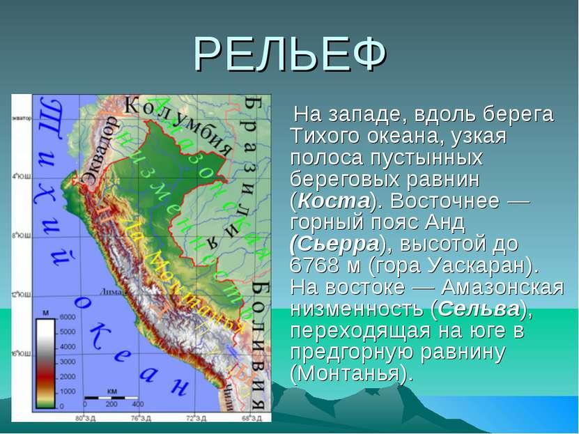 РЕЛЬЕФ На западе, вдоль берега Тихого океана, узкая полоса пустынных береговы...