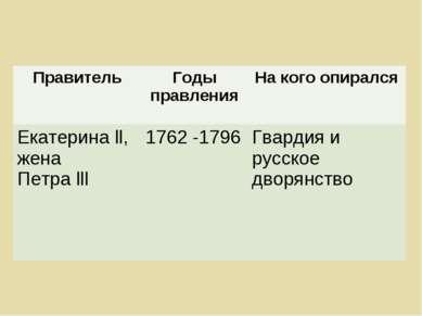Правитель Годы правления На кого опирался Екатерина ll, жена Петра lll 1762 -...