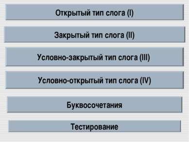 Открытый тип слога (I) Закрытый тип слога (II) Условно-закрытый тип слога (II...