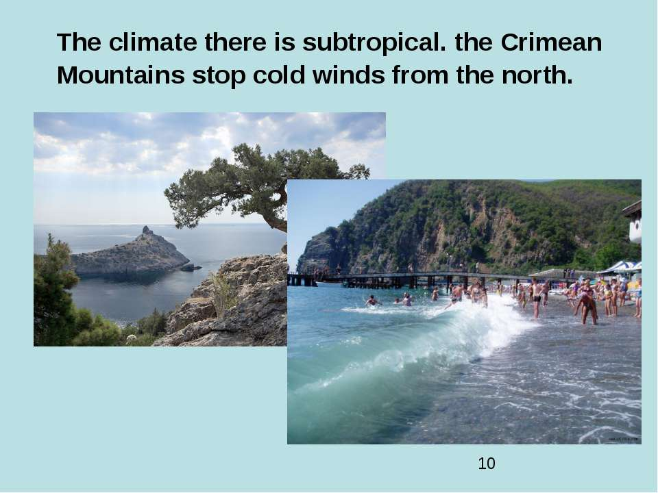 The climate there is subtropical. the Crimean Mountains stop cold winds from ...