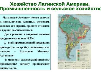 Латинскую Америку можно отнести к промышленно развитым регионам, хотя все его...