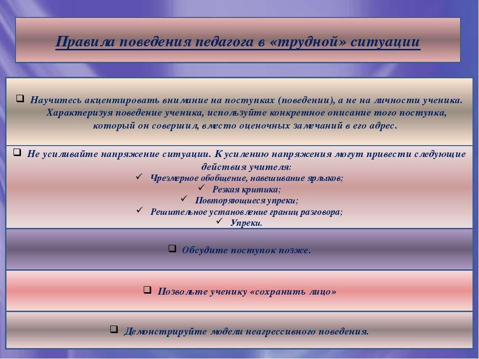Правила поведения педагога в «трудной» ситуации Научитесь акцентировать внима...