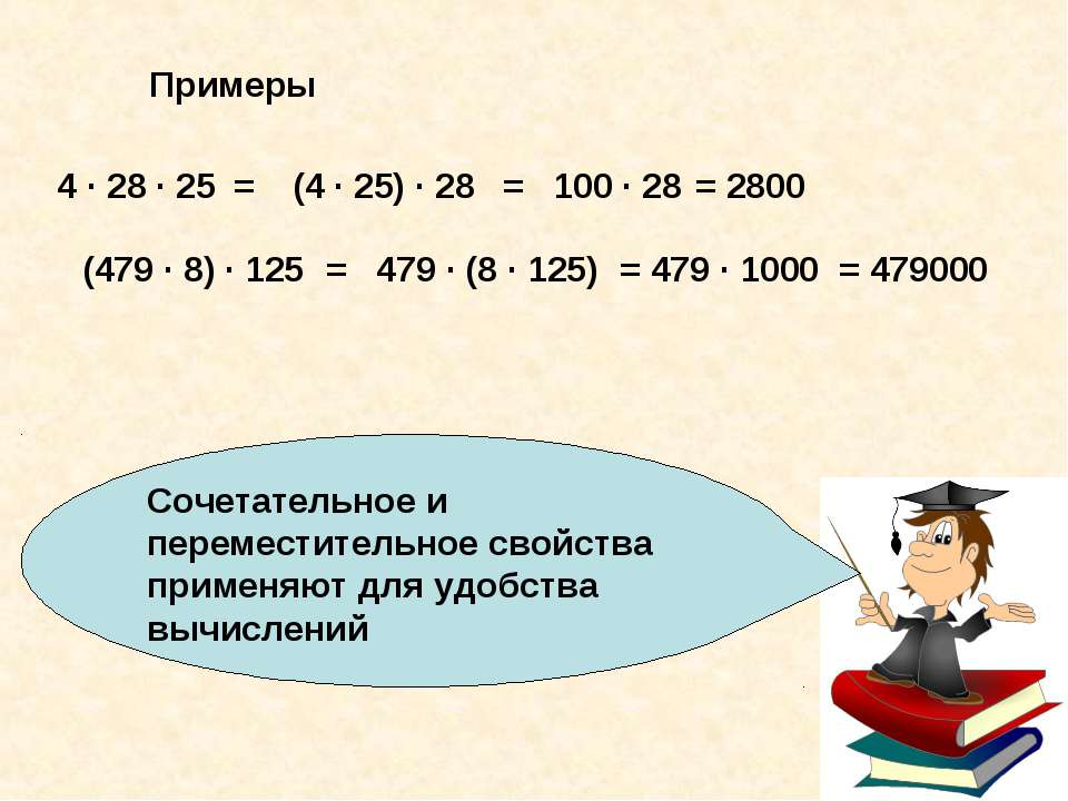 Сочетательное и переместительное свойства применяют для удобства вычислений П...