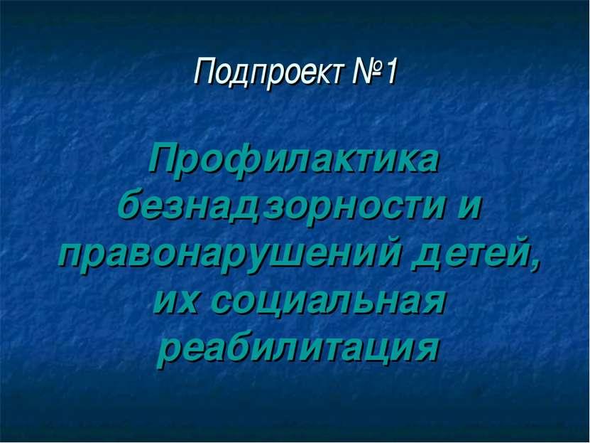 Подпроект №1 Профилактика безнадзорности и правонарушений детей, их социальна...